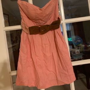 Strapless coral dress with belt